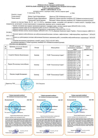 Протокол та посвідчення навчання з охорони праці Техноспектр-Сервіс